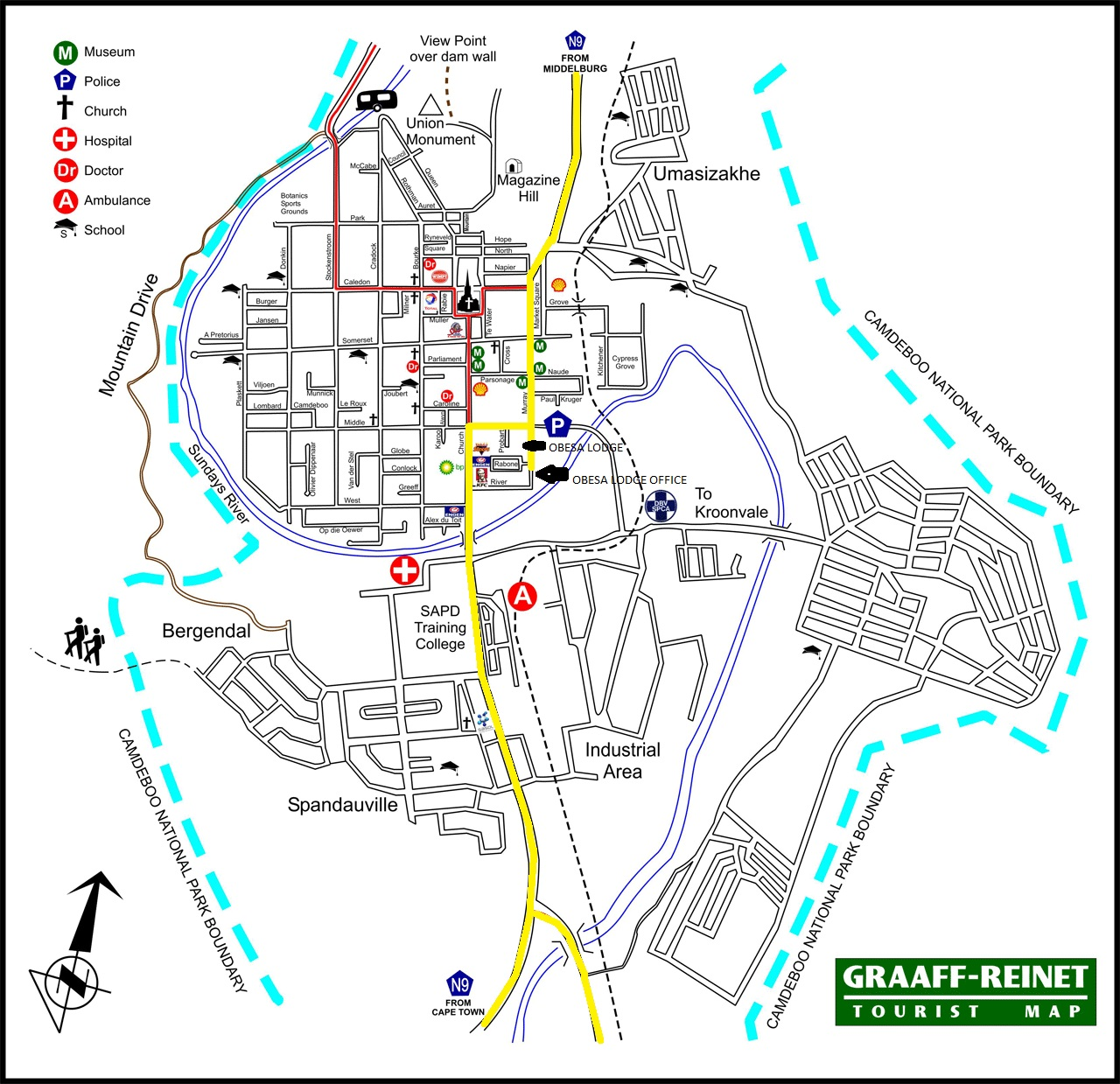 Directions to Obesa Lodge on Graaff-Reinet Map.